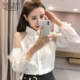 collar puff sleeves shirt 2019 - 2018 new spring fashion women clothing sexy women shirts long sleeved blouses solid casual turn down collar tops D536 30