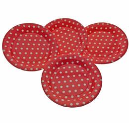 40 шт. / лот 9 дюймов красочные круглые бумажные тарелки блюда полосатый горошек день рождения декор партии пластины одноразовая посуда