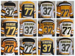 2018 High Quality Wholesale Cheap Sport Jerseys Mens Hockey Jersey 37  BERGERON 77 BOURQUE Black White Yellow CCM Vintage 100% Stitched b76bcb318