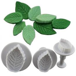$enCountryForm.capitalKeyWord Australia - New Fashion 3Pcs Set Rose Leaf Shape Mold Fondant Cake Sugar Craft Plunger Cutters