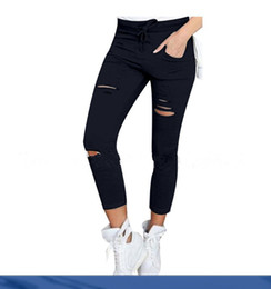 White Cotton Drawstring Pants Women Canada - Women Fashion Cotton Hole Pencil Pants Skinny Nine Points Pants High Waist Stretch Jeans Slim Pencil Trousers Capris Hot
