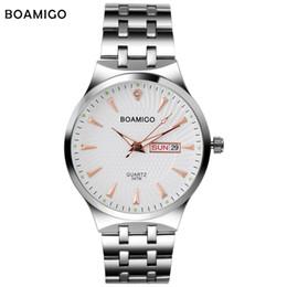 pencil watches 2019 - ress pencil Fashion men quartz watch silver steel wristwatch casual dress business clock male top BOAMIGO brand waterpro