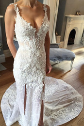 Discount transparent hot sexy gown New V Neck Side Split Sexy Lace Mermaid Wedding Dresses Long Bridal Gowns Appliques Custom Made Transparent High Quality Princess Hot Sale