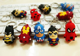 Boys Spiderman Gifts NZ - The Avengers Keychains Superheroes Iron Man Captain America Thor Batman Spiderman Superman PVC Toys Pendants Key Chain Promotion Gift