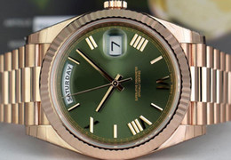 Ship Free Mens Wrist Watches Australia - Free shipping Luxury AAA Brand Mens Wrist Watch 18k Rose Gold DAY DATE 40 President Green Roman 228235 Automatic Movement Mens Watch