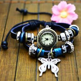 $enCountryForm.capitalKeyWord Canada - Bracelet watch Women Weave Rope Butterfly Pendant charm watch Black Genuine Leather trundle hoop Strap Bracelet Watch Retro wristwatch