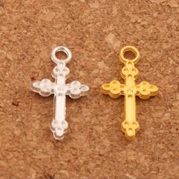 $enCountryForm.capitalKeyWord NZ - 300pcs lot Silver Gold Plated Oval Flower Cross Charm Beads Pendants 10.6x19.4mm Fashion Jewelry DIY Fit Bracelets Necklace Earrings L476
