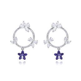 925 silver austria crystal 2018 - TJP Flower Bow 925 Jewelry Sterling Silver Tremella Nail Female Austria Crystal Earrings For Women Pendientes The New Li