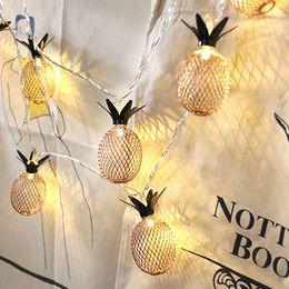 $enCountryForm.capitalKeyWord Australia - Vintage Iron Pineapple Night Lights 20 Leds String Lamp 3M Battery Powered Lantern Romantic Home Christmas Wedding Decor