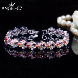 $enCountryForm.capitalKeyWord Australia - ANGELCZ Romantic 925 Sterling Silver Jewelry Pave Baguette Cubic Zirconia Women Multi Color Bracelets Bangles For Wedding AB119