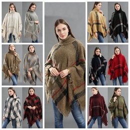 Discount cardigan scarf fashion - 12styles Plaid Poncho Tassel Shawl Knitted Coat Women winter warm Tartan Sweater Wrap Fashion Cardigan Cloak Vintage Bla