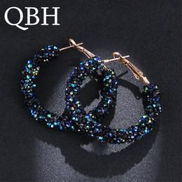 EK711 Bohemian Luxurious Crystal Rhinestone Beads Geometric Hoop Earrings  For Women Jewelry Gold Color Shiny Circle Earrings 77e914eb7955