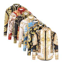 China 2018 autumn and winter long-sleeved casual shirt men's printed dress shirt color printed Slim MedusaGold chain dog rose print shirt supplier long dresses green print casual suppliers