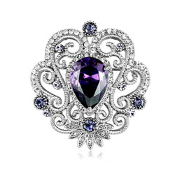 China Purple Zirconia Brooch Victorian Style White Gold Tone Crystal Brooch Pins 4 Color Available suppliers