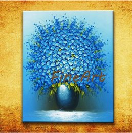 $enCountryForm.capitalKeyWord Australia - ha handmade oil painting modern knife texture blue flower oil painting bouquet in vase wall hanging home decor unique gifts Kungfu Art