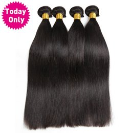 hair weave buy 2019 - [TODAY ONLY] Brazilian Straight Hair Bundles 100% Human Hair Weave Bundles Natural Black Color Non Remy Can Buy 3 or 4 P