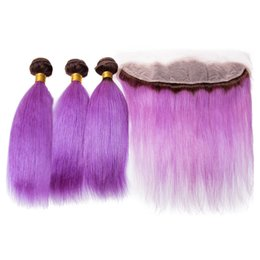 $enCountryForm.capitalKeyWord Australia - 13x4 Ear to ear Frontal With Ombre Color Purple Straight Hair Extensions Two Tone 1B Purple 3Bundles With Lace Frontal 13x4
