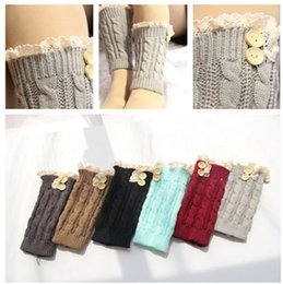 Wholesale 2016 Women short Knitted twist button Boot Cuffs Laced Trim Toppers Socks leg warmers Crochet booty Gaiters pairs