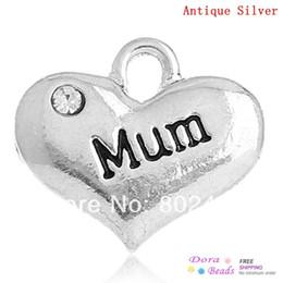 "Discount mum pendants - DoreenBeads Charm Pendants Heart antique silver color ""Mum"" Message Carved Clear Rhinestone 16x14mm,20PCs (B32"