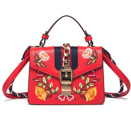 Women Shoulder Bags Italy UK - Luxury Italy Brand Embroidered Flowers Female Shoulder Bag Contrast Color Metal Decoration Female Handbag Messenger Bag Small Square bags