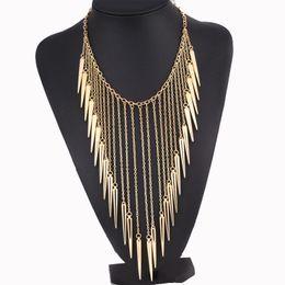 China Wholesale- Find Me 2017 brand fashion punk rivet power boho long tassels collar choker necklace vintage chain choker necklace women Jewelry supplier vintage rivets suppliers