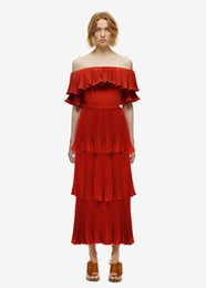 Wholesale 2019 New Women Design Red Big Swing Hem Pleated Runway Dress Summer New Sexy Off The Shoulder Long Party Dresses