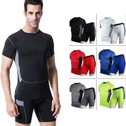 $enCountryForm.capitalKeyWord NZ - Mens Quick Dry Fitness Tights Running Set Gym Sportswear Short Sleeve T-Shirt Demix Shorts Yoga Tracksuit Mens Sports Suits