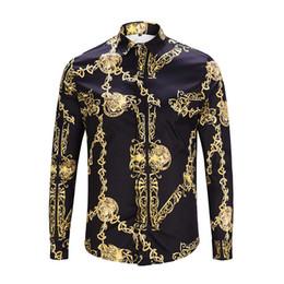 Chinese  HOT2018 Spring Autumn winter Harajuku Medusa gold chain Dog Rose print shirts Fashion Retro floral sweater Men long sleeve tops sh irts manufacturers