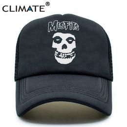 Skull Ball Caps Canada - CLIMATE The Misfits Band Skulls Summer Cool Mesh Caps The Misfits Punk Metal Rock Cool Summer Baseball Mesh Net Trucker Caps