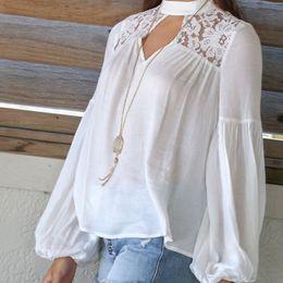 $enCountryForm.capitalKeyWord NZ - New 2019 Autumn Women blouses Korean Style clothing Fashion Elegant White Shirts Crochet Lace Long Sleeve Chiffon Blouses