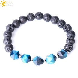 $enCountryForm.capitalKeyWord Canada - CSJA Yellow Blue Tiger Eye Beads Bracelets Lava Rock Bracelet Black for Men Women Elastic Bangles Fashion Natural Stone Charm Jewelry F338