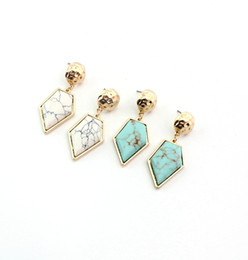 $enCountryForm.capitalKeyWord Australia - Fashion Gold White Green Turquoise Pentagon Marble Earrings Natural Stone Charms Dangle Earrings Jewelry For Women