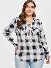 9c3619d4610 Kenancy плюс размер 5XL зашнуровать плед женщины блузка проверено карманы с  длинными рукавами Feminino Blusas отложным воротником повседневные рубашки  новый
