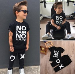 Discount toddler fashion sets - fashion boy's suit Toddler Kids Baby Boy Outfits black hot Clothes No pain no gain letters printed T-shirt Top+XO P