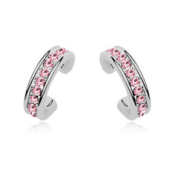 Crystals Australia - Fashion Small Stud Earings For Girls White Gold Plated Ladies Jewellery Earings Made with Swarovski Elements Crystal Best Christmas Gift