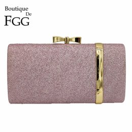 Ladies Evening Handbags Australia - Boutique De FGG Light Purple Glitter Women Fashion Day Clutches Handbags Evening Wedding Cocktail Ladies Clutch Bag Party Purse