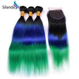 Hair Colors Australia - Silanda Hair Real Remy Human Hair Weaving Bundles Ombre #T 1B Blue Green 3 Colors Straight 3 Weaves With 4X4 Lace Closure Free Shipping