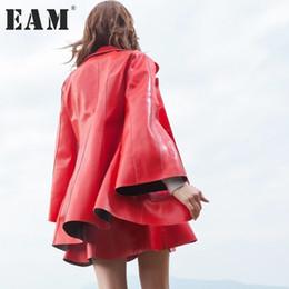 $enCountryForm.capitalKeyWord Canada - presell [EAM] 2017 new autumn lapel long flare sleeve solid color PU leather jacket women coat fashion tide cool JA87003S