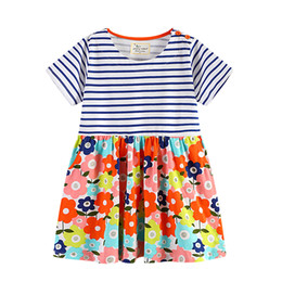 Discount wholesale clothing lines for boutiques - 2019 Boutique European and America style Floral Dress for girl Striped Short sleeve Flowers Print 100% cotton Wholesale