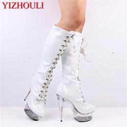 ad286e731 Clásicos punta redonda sexy PU negro plataforma botas sexy clubbing 15 cm  zapatos de tacón alto 6 pulgadas señora moda rodilla botas altas