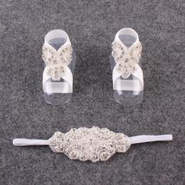 $enCountryForm.capitalKeyWord NZ - Sweet Cute Flower Barefoot And Headband Newborn Baby Girl Headwear Kids Infant Headband Foot Flower Elastic Hair Accessories