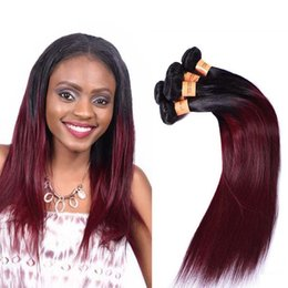 Cheap 18 Inch Hair Extensions NZ - Brazilian Burgundy Ombre Straight Hair 4 Bundles 1B 99J Two Tone Ombre Brazilian Remy Hair Weave Cheap Red Human Hair Extensions