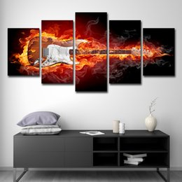 paint electric guitar 2019 - Modular Canvas Paintings Wall Art Home Decor HD Prints 5 Pieces Burning Guitar Pictures Rock Electric Music Posters chea