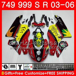 Wholesale Body For DUCATI 749-999 749S 999S 749 999 03 04 05 06 Bodywork 105HM.0 749 S 999 R 749R 999R 2003 2004 2005 2006 Fairing kit Shark Red New