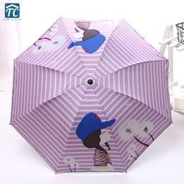kids cartoon umbrella 2019 - Women Three-Folding Umbrella Kids Sunny Rainy Parasol Cartoon Children Waterproof Outdoor Protection foldable Windproof
