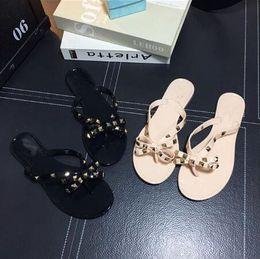 Latex big online shopping - 2018 Woman Summer Sandals Rivets big bowknot Flip Flops Beach Sandalias Femininas Flat Jelly Designer Sandals