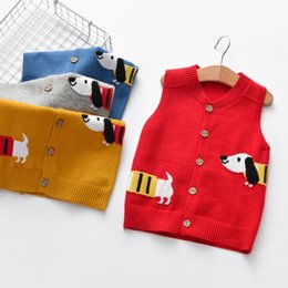 red baby vest NZ - 2018 Autumn Spring Boys Knitting Vest Cardigan Cartoon dog Baby coat boy Knitted Sweater Vest Kids Outerwear Children Jackets