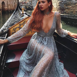 $enCountryForm.capitalKeyWord Canada - FRee shipping 2018 Sexy Deep V Neck Transparent Sequined club rhinestone sex maxi Mesh sequin see through sheer sequin dress high Qualit