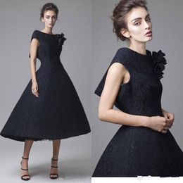 $enCountryForm.capitalKeyWord NZ - Krikor Jabotian High Low 2018 Prom Dresses Full Lace Hand Made Flower Black Formal Evening Gowns Cheap Short Party Dress