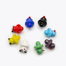 China Volcanee Colored glass Bubble Carb Cap cute Duck Style dome for Quartz Thermal P Banger Nails Dabber Glass Bong Dab Oil Rig supplier glasses for style suppliers